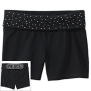 SO Rhinestud Peace Fold-Over Yoga Shorts - Girls 7-16