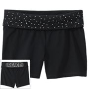 SO Rhinestud Peace Fold-Over Yoga Shorts - Girls Plus
