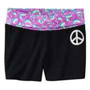 SO Peace Sign Abstract Fold-Over Yoga Shorts - Girls Plus