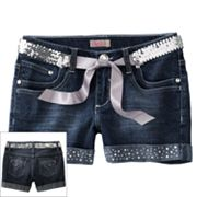 SO Rhinestone Belted Denim Shorts - Girls Plus