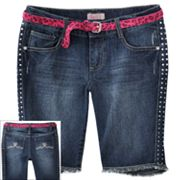 SO Studded Belted Denim Bermuda Shorts - Girls Plus