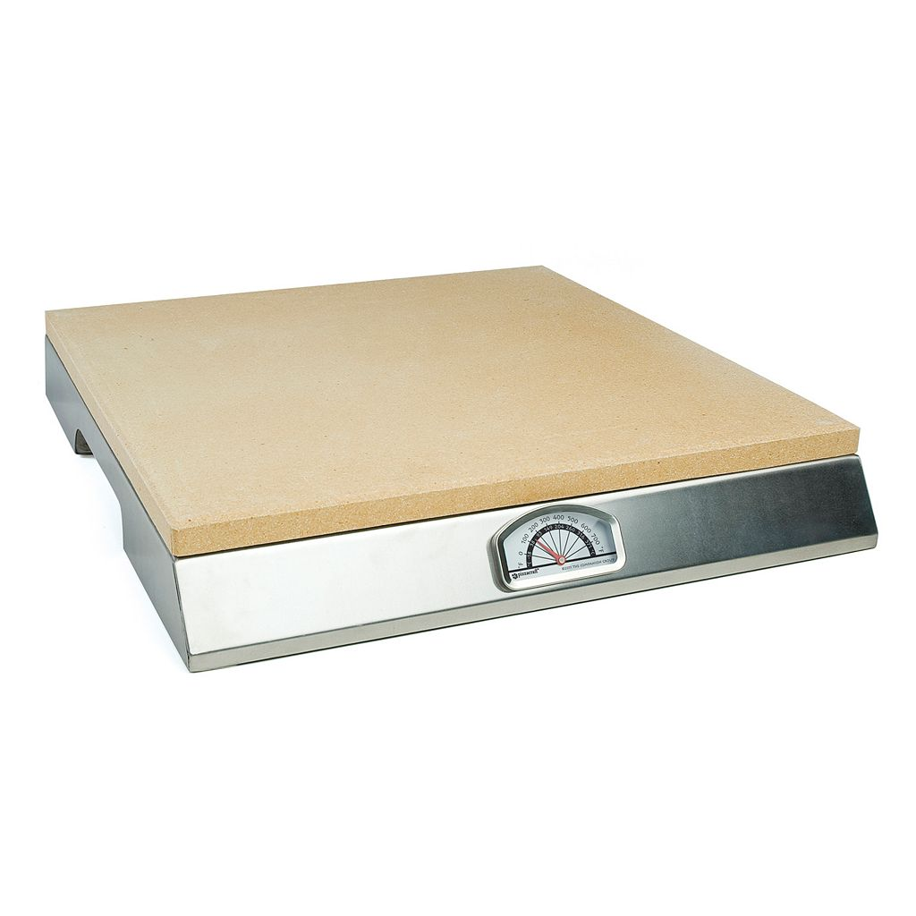 PizzaCraft 15-in. Square Pizza Stone with Stainless Steel Frame & Thermometer