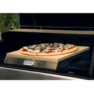 PizzaCraft 15-in. Square Pizza Stone with Stainless Steel Frame and Thermometer