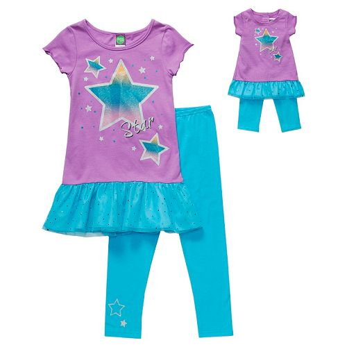 Dollie & Me Star Drop-Waist Dress & Leggings Set - Girls 4-6x