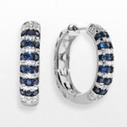 Sterling Silver 1/2-ct. T.W. Blue and White Diamond Hoop Earrings
