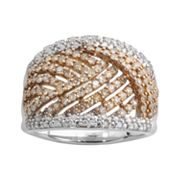 Sterling Silver 1-ct. T.W. Champagne and White Diamond Woven Ring