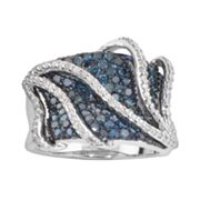 Sterling Silver 1-ct. T.W. Blue and White Diamond Cage Ring