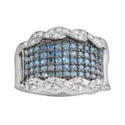 Sterling Silver 1-ct. T.W. Blue and White Diamond Twisted Border Ring