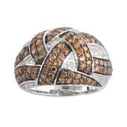 Sterling Silver 2-ct. T.W. Champagne and White Diamond Woven Dome Ring