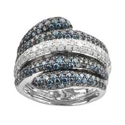 Sterling Silver 2-ct. T.W. Blue and White Diamond Multirow Bypass Ring
