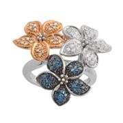 Sterling Silver Two Tone 1/2-ct. T.W. Blue, Champagne and White Diamond Flower Ring