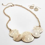 SONOMA life + style Textured Disc Bib Necklace and Drop Earring Set