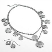 SONOMA life + style Textured Disc Multistrand Charm Necklace and Drop Earring Set