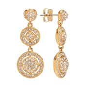 Napoli Gold Tone Simulated Crystal Graduated Linear Drop Earrings