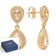 Napoli Gold Tone Simulated Crystal Drop Earrings