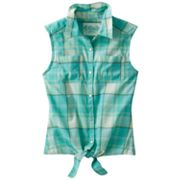 Mudd Plaid Tie-Front Top - Girls 7-16