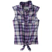 Mudd Plaid Tie-Front Top - Girls Plus