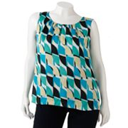 Dana Buchman Geometric Pleated Charmeuse Top - Women's Plus