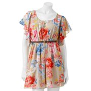 Margo and Sebastian Floral Sheer Dress - Juniors