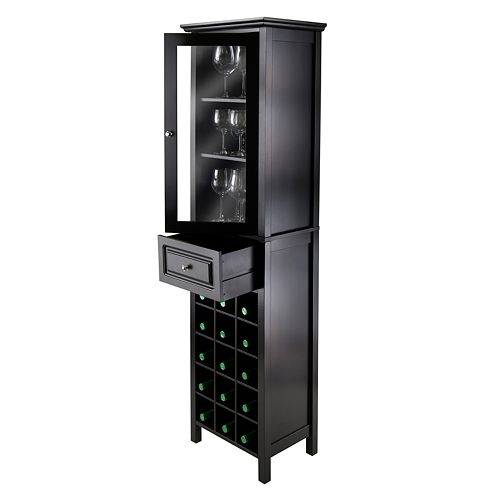 Winsome Glass Door 15-Bottle Wine Cabinet