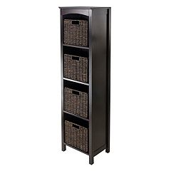 Winsome Terrace Narrow 4-Basket Storage Bookshelf