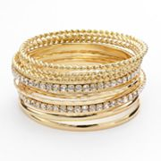 Apt. 9 Hammered and Twist Simulated Crystal Bangle Bracelet Set