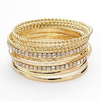Hammered & Twist Simulated Crystal Bangle Bracelet Set