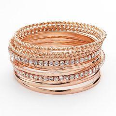 Hammered & Twist Simulated Crystal Bangle Bracelet Set