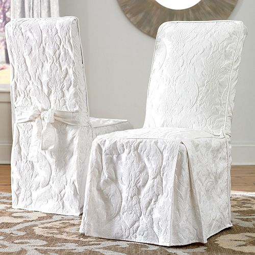 Fitted Dining Room Chair Covers: Sure Fit Matelasse Damask Dining Room Chair Slipcover
