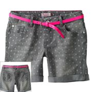 SO Polka-Dot Belted Denim Shorts - Girls Plus