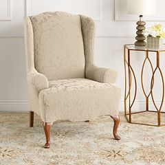 Sure Fit Stretch Jacquard Damask Wing Chair Slipcover
