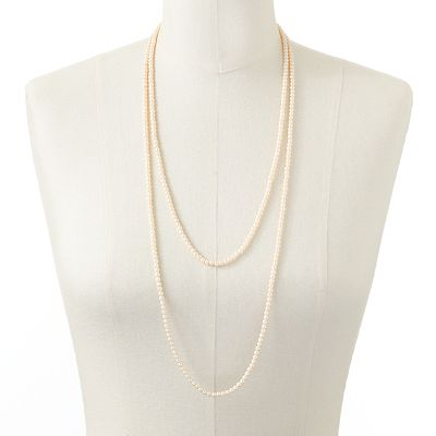 LC Lauren Conrad Simulated Pearl Long Necklace