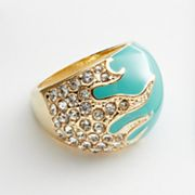 Jennifer Lopez Gold Tone Simulated Crystal Dome Ring
