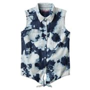 Mudd Bleached Tie-Front Denim Top - Girls Plus