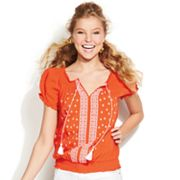 IZ Byer California Embroidered Peasant Top - Juniors