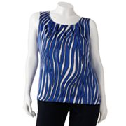 Dana Buchman Zebra Pleated Charmeuse Top - Women's Plus
