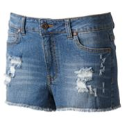 Tinseltown Distressed High-Waist Denim Shortie Shorts - Juniors