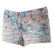 Tinseltown Floral Stud Denim Shortie Shorts - Juniors