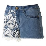 Tinseltown Crochet Denim Shortie Shorts - Juniors
