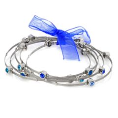 Silver Plate & Stainless Steel Crystal Wire Bangle Bracelet Set