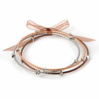 Silver Plate, 10k Rose Gold Over Stainless Steel & Stainless Steel Brown Ion Bangle Bracelet Set
