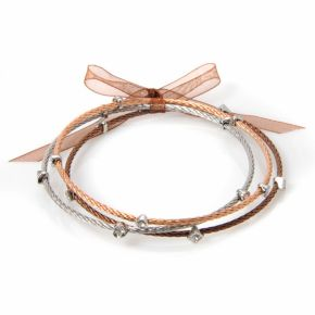 Silver Plate, 10k Rose Gold Over Stainless Steel and Stainless Steel Brown Ion Bangle Bracelet Set