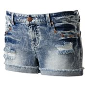 Tinseltown Studded Frayed Denim Shortie Shorts - Juniors
