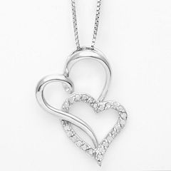 Silver Plated 1/4 ctT.W. Diamond Heart Pendant