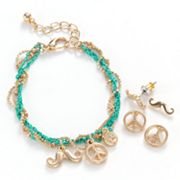 SO Gold Tone Mustache and Peace Sign Charm Multistrand Bracelet and Stud Earring Set
