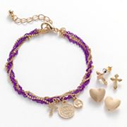 SO Gold Tone Cross and Coin Charm Multistrand Bracelet and Stud Earring Set
