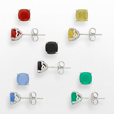 Sterling Silver Agate and Onyx Stud Earring Set