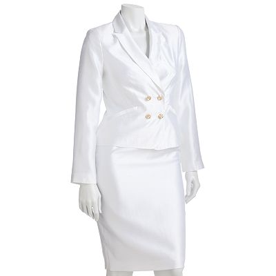 Signature by Larry Levine Iridescent Suit Jacket and Pencil Skirt Set