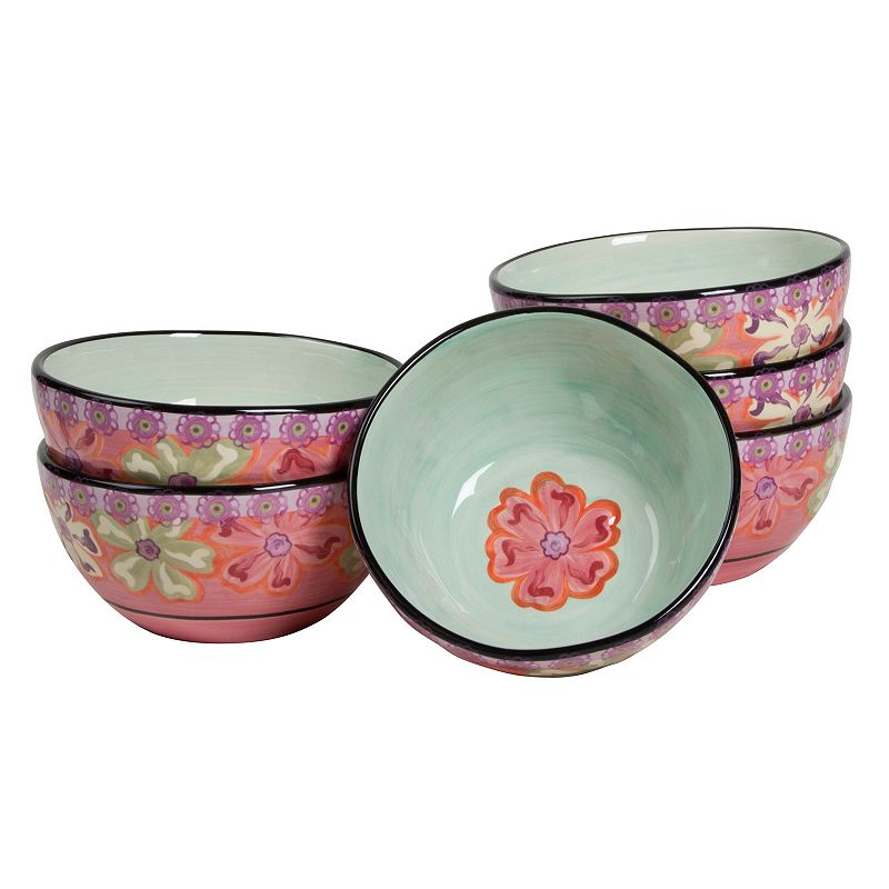 Kathy Davis Hearts and Flowers 6-pc. Cereal Bowl Set