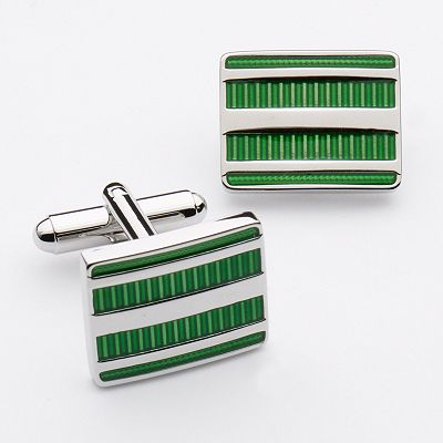 Chaps Striped Rectangle Cuff Links